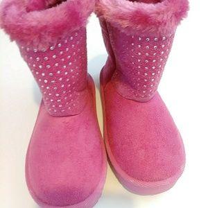 Swiggles Fabric/Rhinestone Fur Trim Uggs Pink